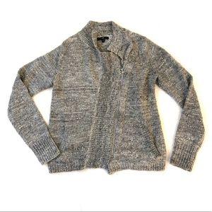 Gap Gray Asymmetrical Zip Front Cardigan Sweater S